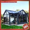 Outdoor garden gazebo patio solar aluminum glass sunroom sun house room cabin 5