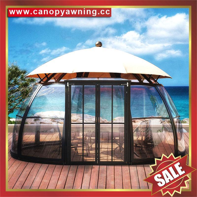 outdoor alu polycarbonate aluminum sunroom sun house room cabin dome tent gazebo 1