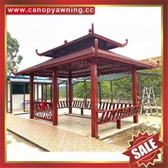 outdoor garden wood look aluminum metal gazebo pavilion pagoda gloriette