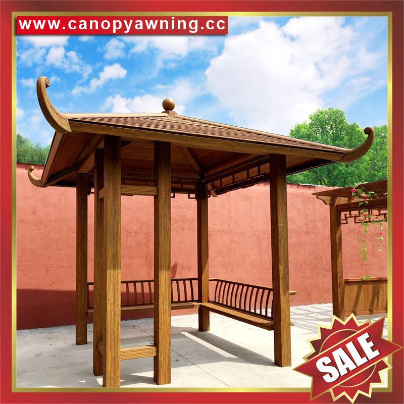中式西式古式仿古仿木纹铝合金铝制公园园林遮阳雨防晒隔热凉亭 1