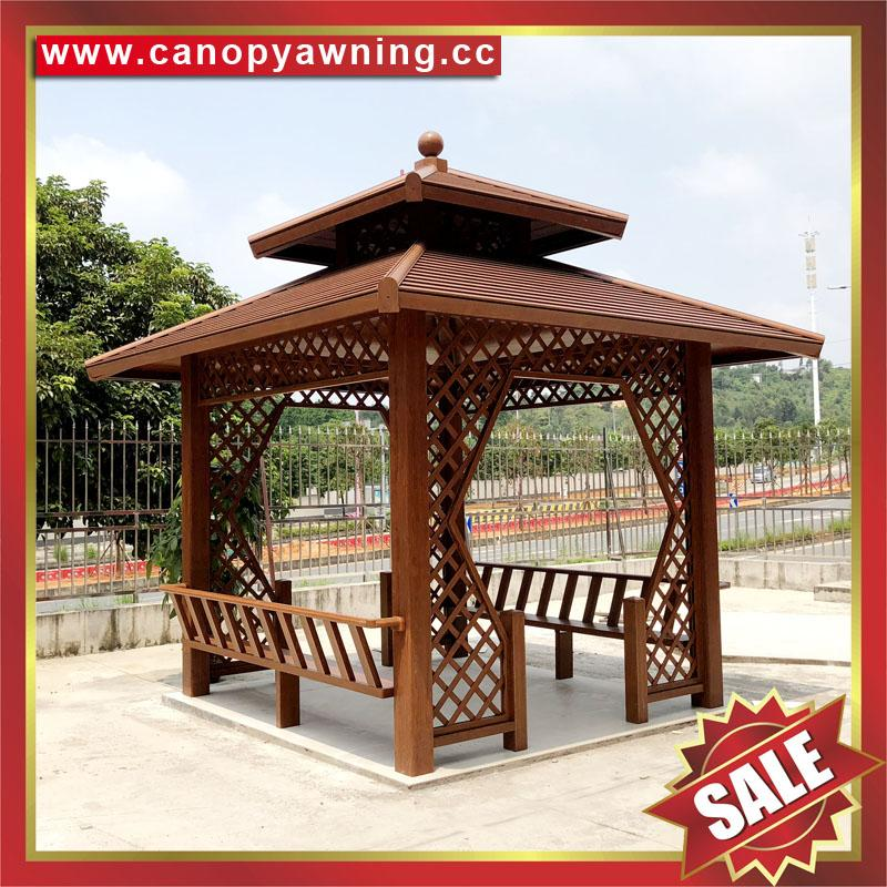 outdoor garden wood look aluminum metal pavilion pagoda gloriette kiosk 2