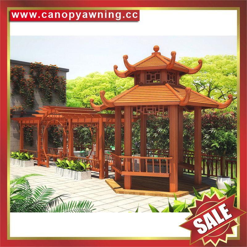 中式西式古式仿古仿木纹铝合金铝制公园园林遮阳雨防晒隔热凉亭 4