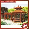 outdoor garden wood look aluminum metal pavilion pagoda gloriette kiosk 4