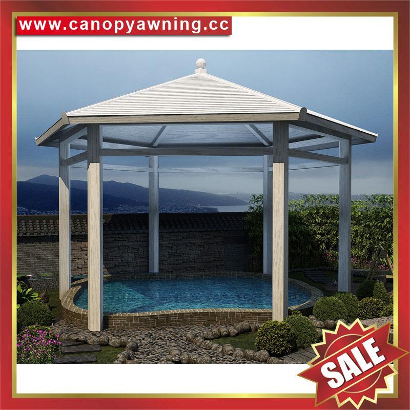 中式西式古式仿古仿木纹铝合金铝制公园园林遮阳雨防晒隔热凉亭 5