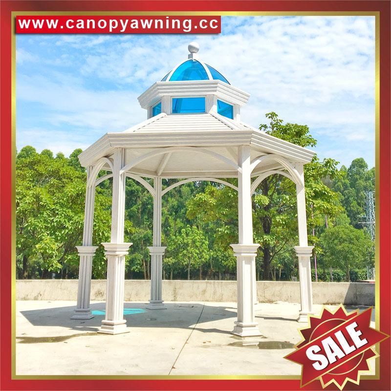 中式西式古式仿古仿木纹铝合金铝制公园园林遮阳雨防晒隔热凉亭 6