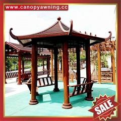 中式园林公园铝合金铝制仿木纹四角六角八角遮阳挡雨凉亭子