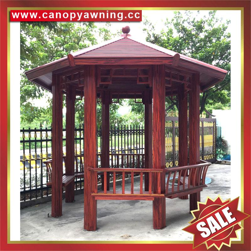 中式园林公园铝合金铝制仿木纹四角六角八角遮阳挡雨凉亭子 3