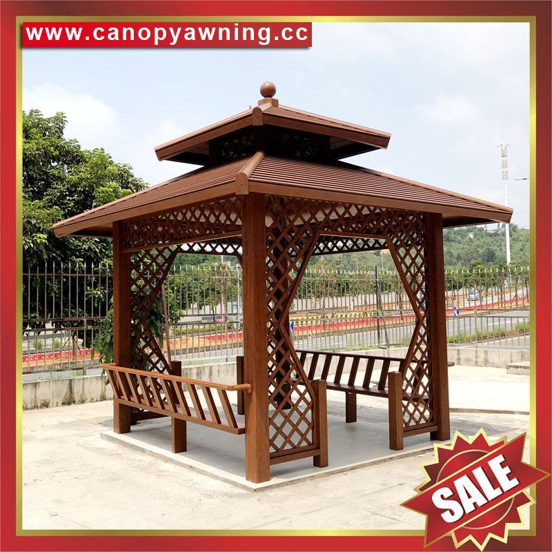 中式园林公园铝合金铝制仿木纹四角六角八角遮阳挡雨凉亭子 4