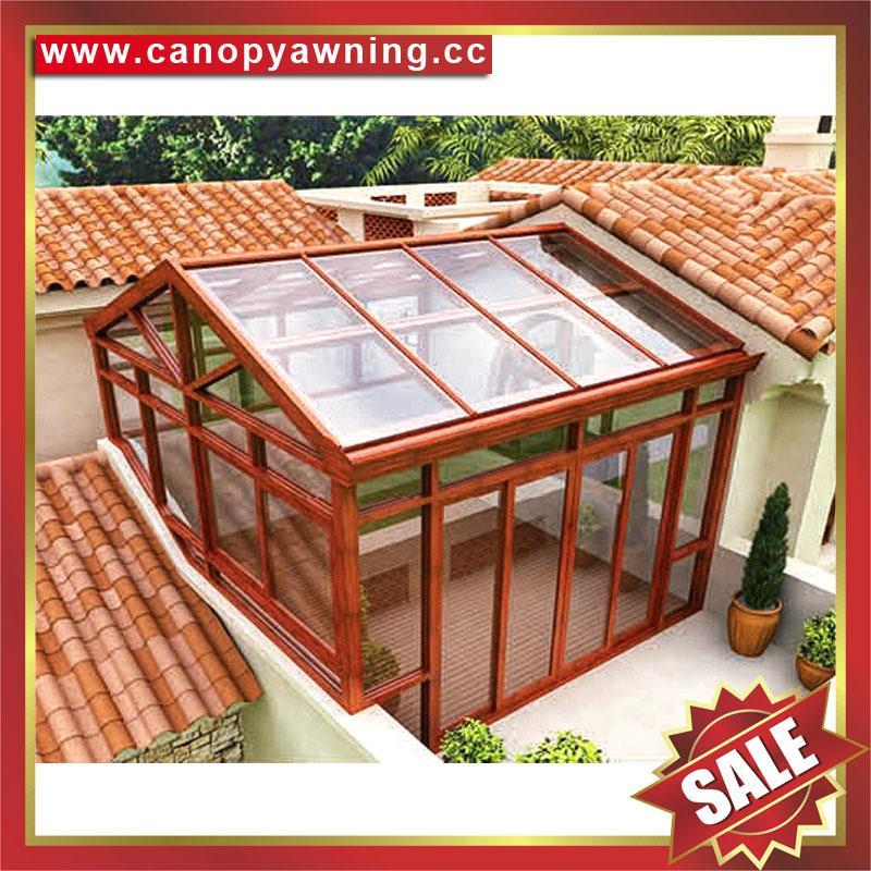 中式仿实木纹采光透光铝合金铝制玻璃透明阳光房温室屋 2