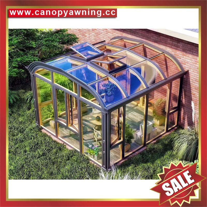 中式仿实木纹采光透光铝合金铝制玻璃透明阳光房温室屋 6