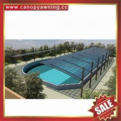 廣東優質耐用酒店別墅遮陽擋雨PC耐力板鋁合金鋁制游泳池棚蓬篷