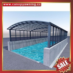 广东优质耐用户外遮阳挡雨PC耐力板铝合金铝制游泳池棚蓬篷