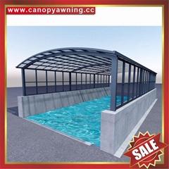 廣東優質耐用戶外遮陽擋雨PC耐力板鋁合金鋁制游泳池棚蓬篷
