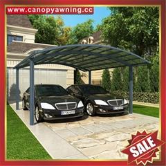 豪华别墅铝合金铝制PC耐力板双位合抱车棚蓬篷厂家
