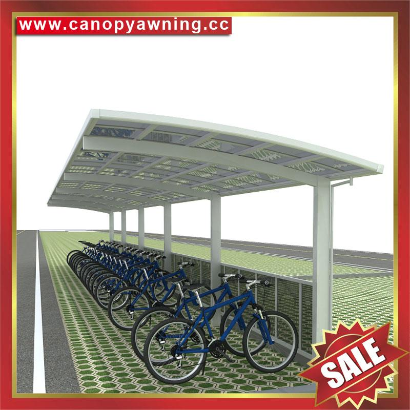 public aluminum polycarbonate bicycle motorcycle parking shelter canopy awning 6