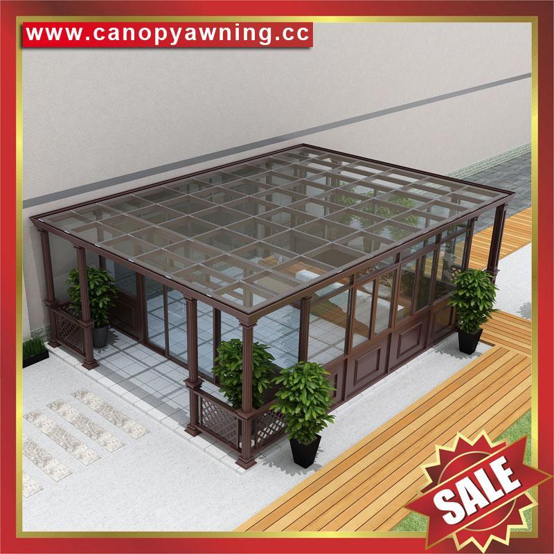 优质耐用高级定制钢化玻璃金属铝合金阳光房温室屋 2