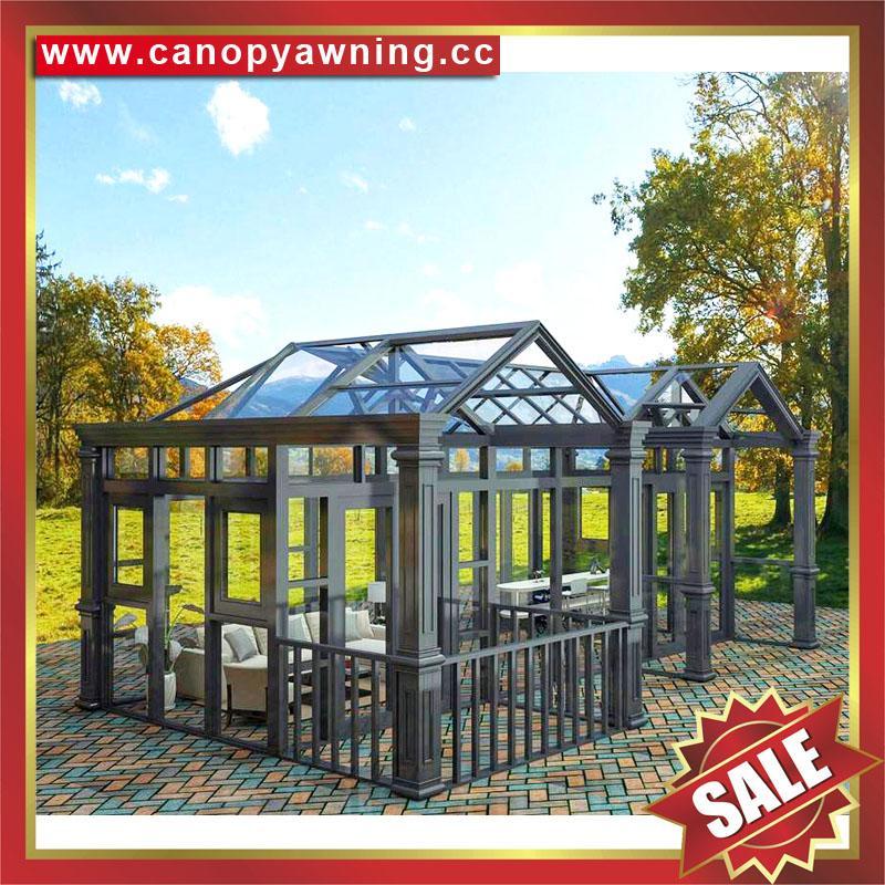 优质耐用高级定制钢化玻璃金属铝合金阳光房温室屋 5