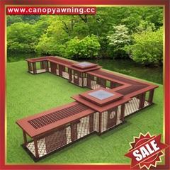 公園園林過道鋁合金鋁制擋雨防晒雨棚雨陽篷遮陽蓬涼亭