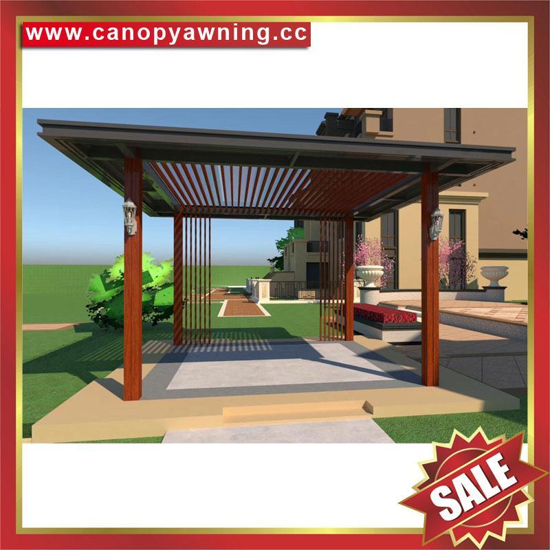 现代西式欧式新中东式铝合金铝制仿木纹露天遮阳雨棚凉亭 1