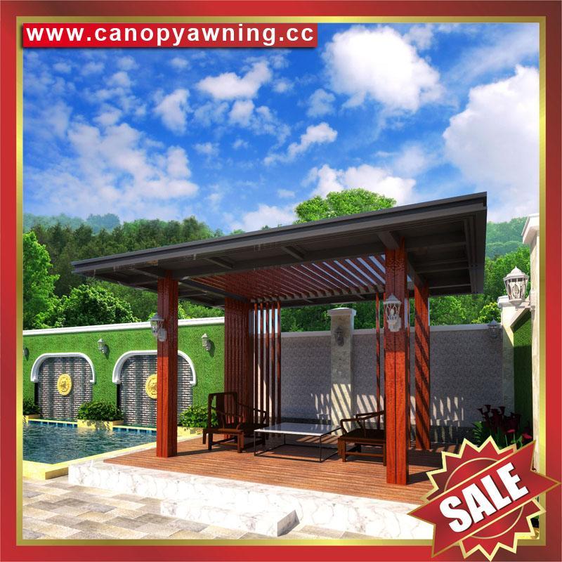 现代西式欧式新中东式铝合金铝制仿木纹露天遮阳雨棚凉亭 2