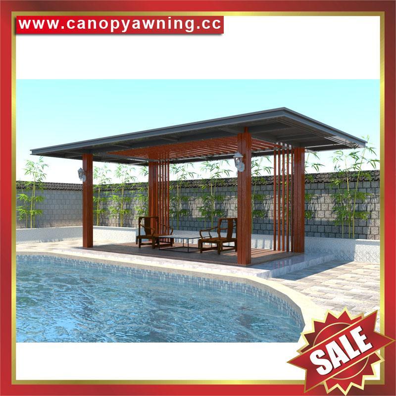 现代西式欧式新中东式铝合金铝制仿木纹露天遮阳雨棚凉亭 3