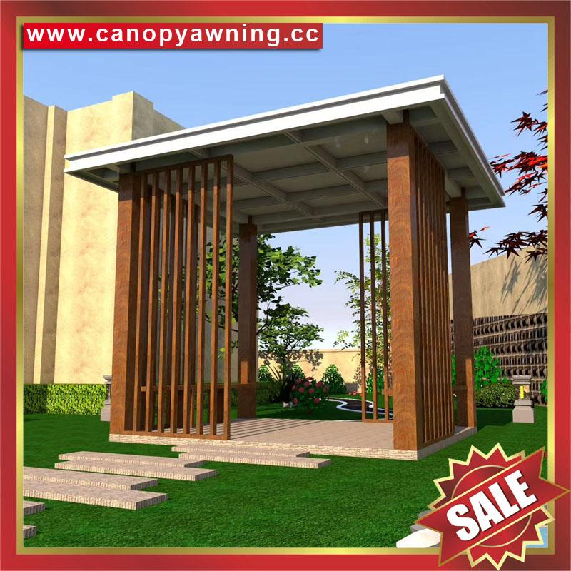现代西式欧式新中东式铝合金铝制仿木纹露天遮阳雨棚凉亭 4