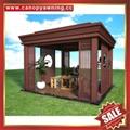 现代西式欧式新中东式铝合金铝制仿木纹露天遮阳雨棚凉亭 5