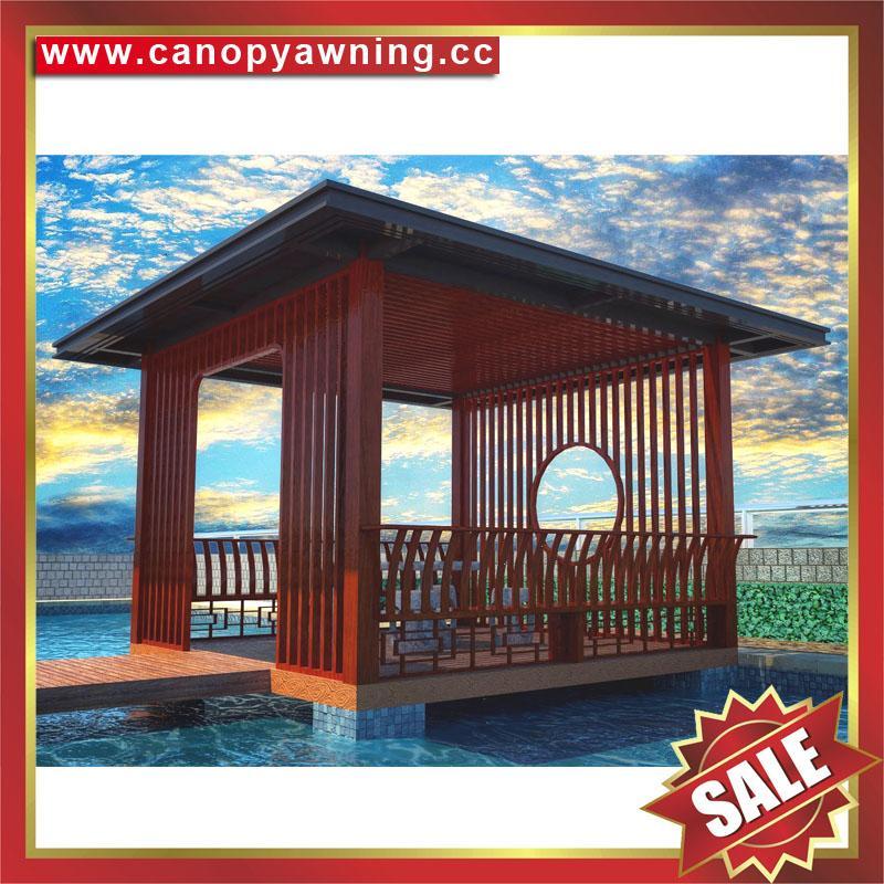现代西式欧式新中东式铝合金铝制仿木纹露天遮阳雨棚凉亭 6