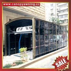 高級定製豪華土豪金抗UV防晒擋雨遮陽PC耐力板鋁制鋁合金車棚車篷