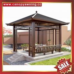 villa park garden wood style alu aluminum metal gazebo pavilion pagoda gloriette
