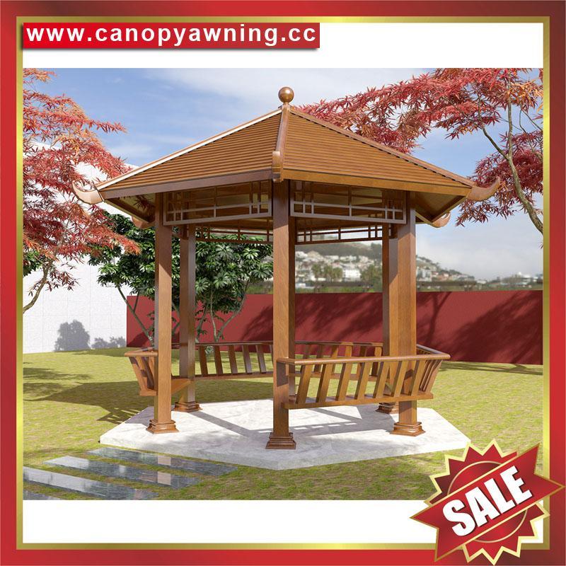 中式园林公园铝合金铝制仿木纹四角六角八角遮阳挡雨凉亭子 1