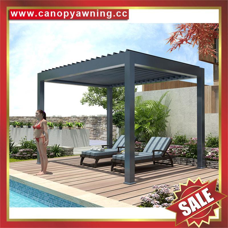 别墅铝制电动百叶翻板凉亭遮阳雨棚蓬篷 2