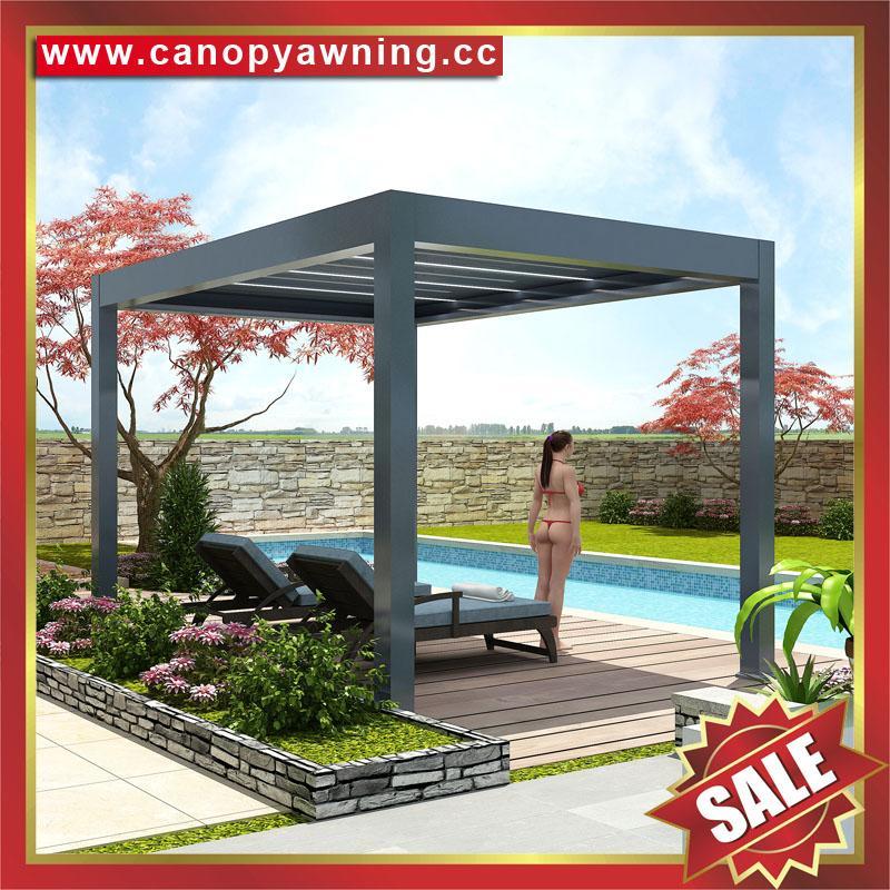 别墅铝制电动百叶翻板凉亭遮阳雨棚蓬篷 4