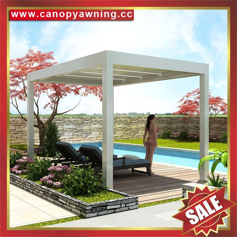 别墅铝制电动百叶翻板凉亭遮阳雨棚蓬篷 5