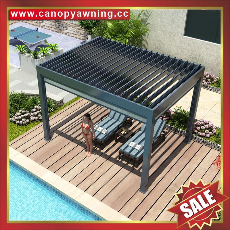 休闲铝合金电动百叶翻板带灯凉亭遮阳雨棚蓬篷 6