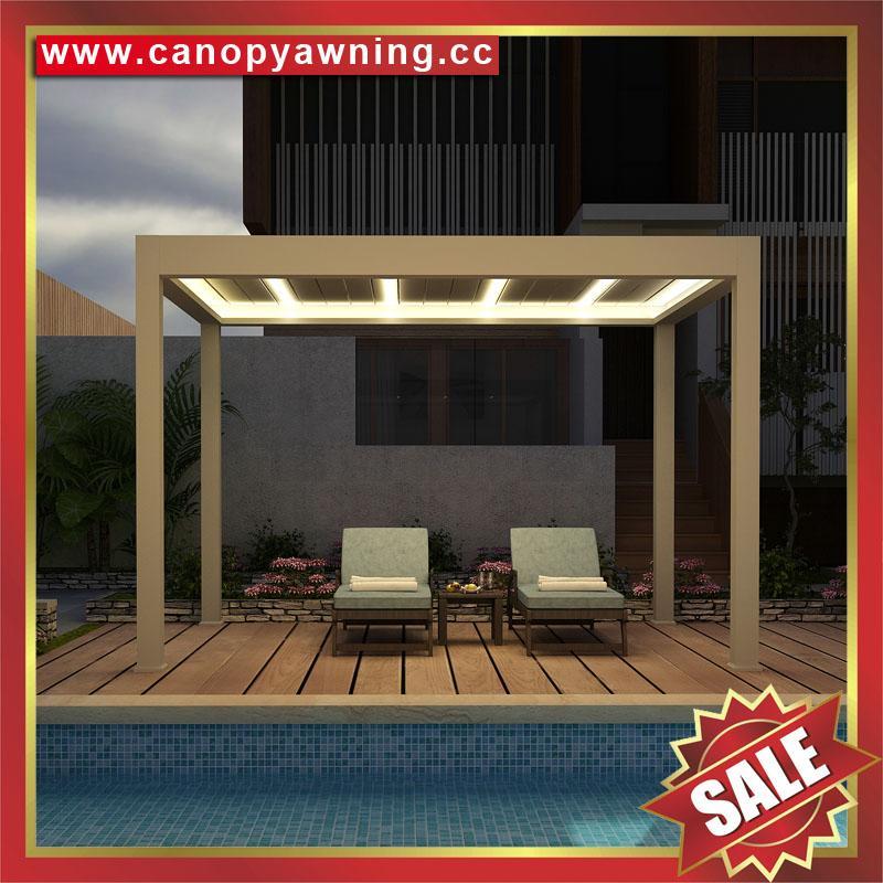休闲铝合金电动百叶翻板带灯凉亭遮阳雨棚蓬篷 1