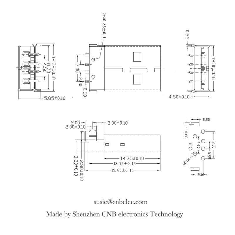 AM A type Male USB Connector for USB 4