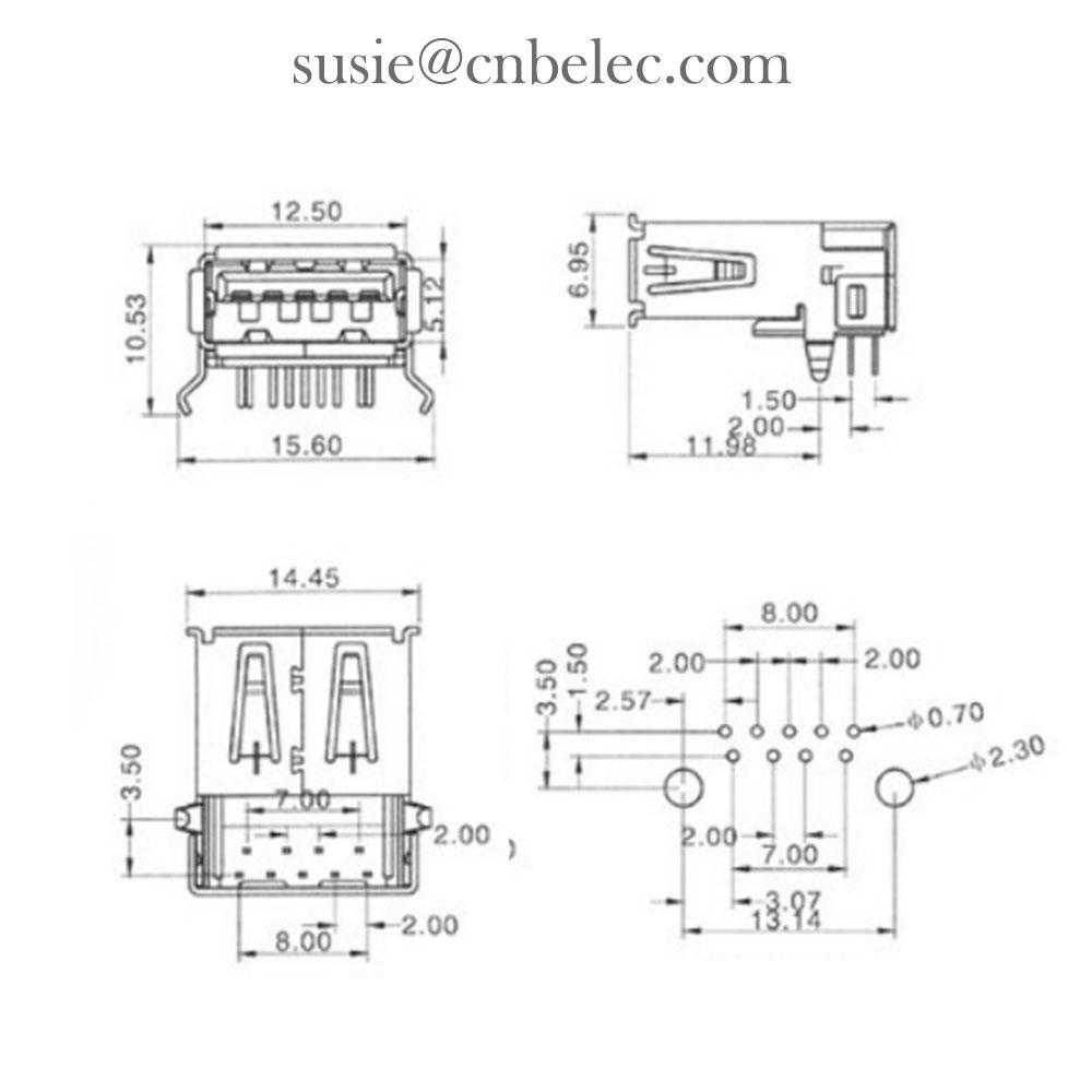 USB 3.0 AF Connector PCB Connector from Chinese connector terminal manufacturer 3