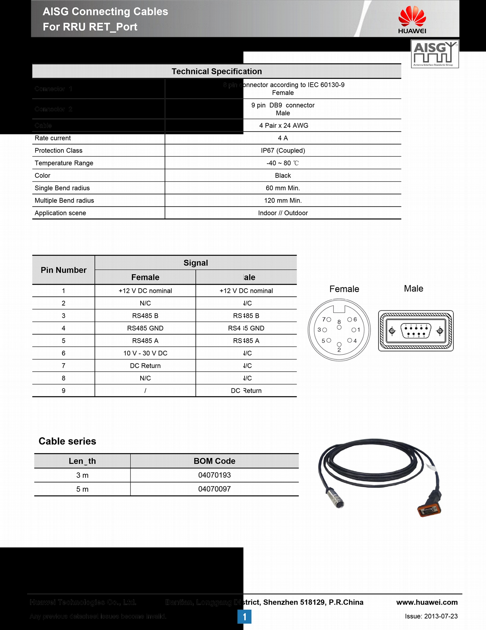 RRU to RCU wireless AISG to DB9 control cable 5