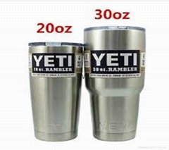For Sale TWO (2) YETI RAMBLER 30 OZ TUMBLER MUG STAINLESS STEEL CUP WITH LIDS BR