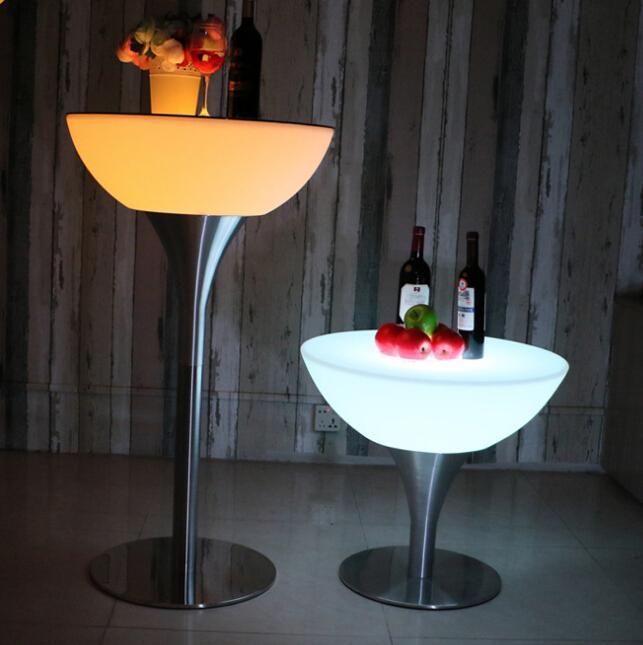 glowing illuminate night club bar stools with footrest 1