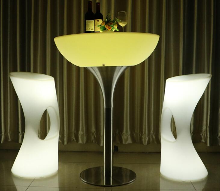 glowing illuminate night club bar stools with footrest 2
