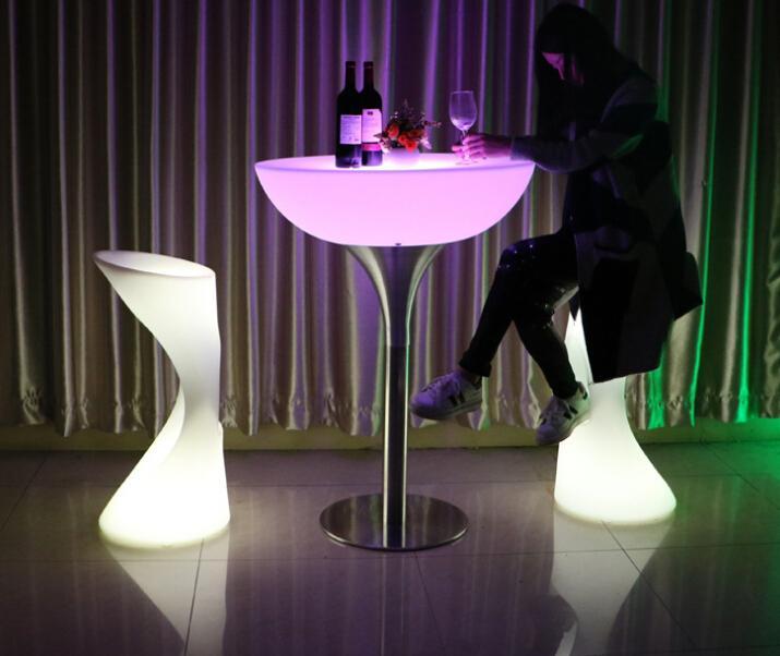 glowing illuminate night club bar stools with footrest 3