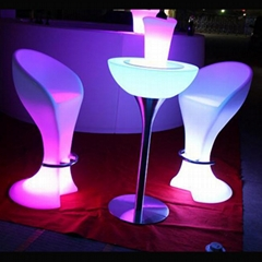 Plastic beach stool illuminated furniture LED bar chair