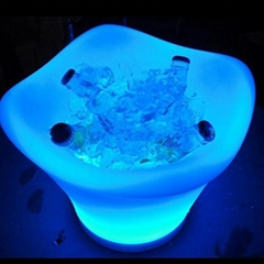 PE plastic color changing custom beer ice bucket with LED light