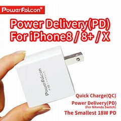 PowerFalcon 18W USB-C PD QC2 Wall Charger for iPhone X, Switch