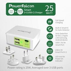 PowerFalcon Type-C +2口 usb多口 AC头可拆换 USB充电器