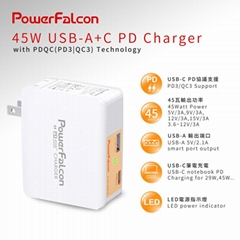 PowerFalcon 45W PD 双口(USBC USBA) 可折叠充电器