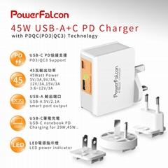 PowerFalcon 45W PD 双口(USB-C + USB-A) 可换头旅行充电器