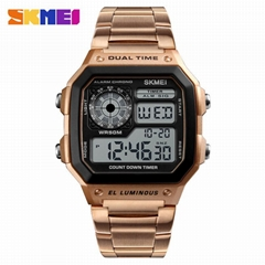 Cool men's dual time analog digital watch with square dail